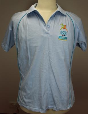 Short sleeved t-shirt worn by Barry Minster at the Melbourne 2006 Commonwealth Games.