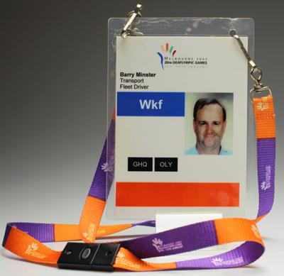 Security pass issued to Barry Minster,  Melbourne 2005 Deaflympic Games