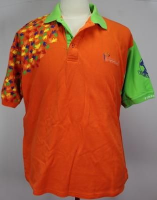 Polo t-shirt worn by Barry Minster at the Melbourne 2005 Deaflympic Games.