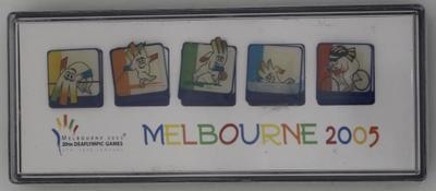 Souvenir pins set, Melbourne 2005 Deaflympics