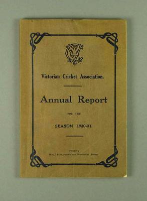 Annual report, Victorian Cricket Association - season 1930/31