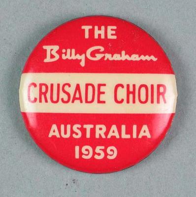 Badge, Billy Graham Crusade Choir - Australia 1959