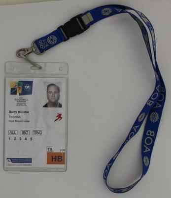 Security pass issued to Barry Minster at the Brisbane 2001 Goodwill Games.; Documents and books; N2018.17.11