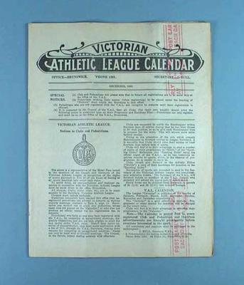 Victorian Athletic League Calendar, Dec 1929