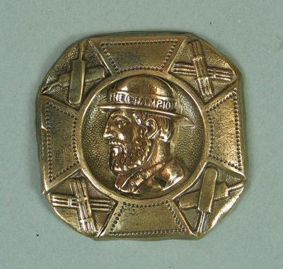 """Belt buckle with cricket themed design, """"The Champion"""" c1870s"""