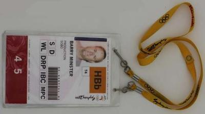 Security pass and bump-in pre-games pass issued to Barry Minster at the Sydney 2000 Olympic Games