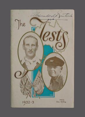 Programme, Australia v England Test Series 1932-33