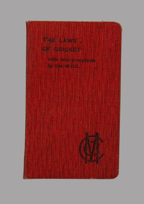 """Booklet, """"The Laws of Cricket"""" 1905"""
