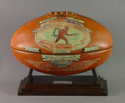 Painted football presented to Stuart Spencer, Melbourne FC 1956 VFL Premiers