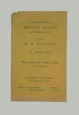 Smoke Night programme -  W.H. Ponsford & H. Ebeling - 5 March 1934