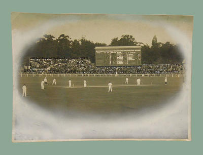 Black and white photograph of a cricket match in progress, Australia v England c.1920 at MCG; Photography; M3129