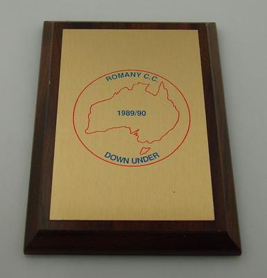 Metallic plaque - Romany C.C. 1989/90 Down Under