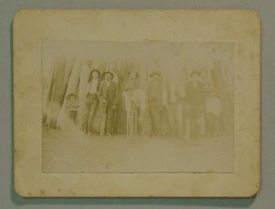Sepia photograph country cricketers c. 1880