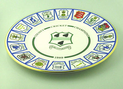 "Plate, ""Worcestershire County Cricket Club - County Cricket Champions 1989""; Domestic items; M4859"