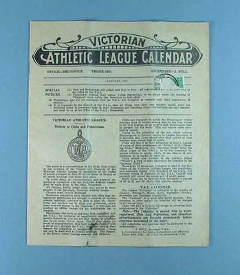 Victorian Athletic League Calendar, Jan 1931