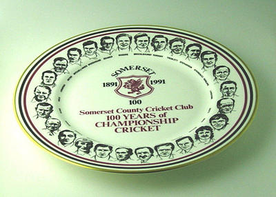 "Plate, ""Somerset County Cricket Club - 100 Years of Championship Cricket"""