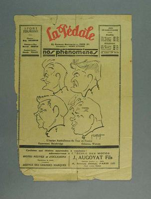 Magazine cover - 'La Pedale'  - cover with sketch profiles of Australian Tour de France team, 1928