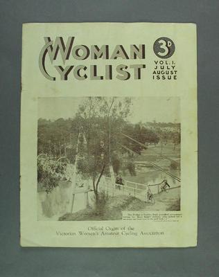 "Magazine, ""Woman Cyclist"" vol 1 Jul-Aug 1937; Documents and books; 1988.2003.19"