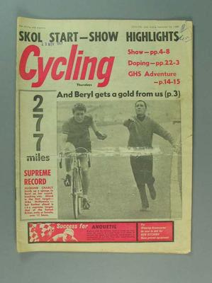 "Magazine, ""Cycling"" 23 Sept 1967"