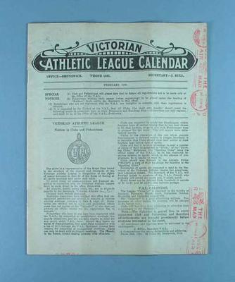 Victorian Athletic League Calendar, Feb 1930