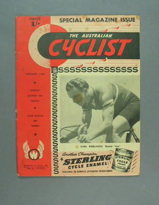 Magazine - 'The Australian Cyclist', January 1950, cover Carl Koblauch