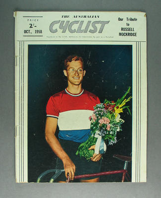 Magazine - 'The Australian Cyclist', October 1958, cover Russell Mockridge; Documents and books; 1993.2895.7
