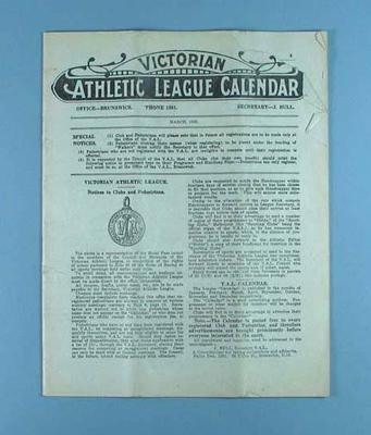 Victorian Athletic League Calendar, March 1930