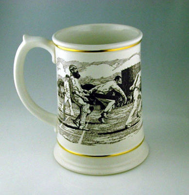 Porcelain tankard - Ashes Centenary Tankard - commemorating 1882 Test Match
