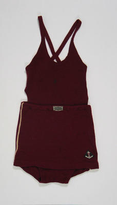 Maroon bathing suit, c1920s-30s