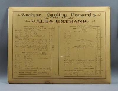 Mounted Amateur Cycling Records held by Valda Unthank