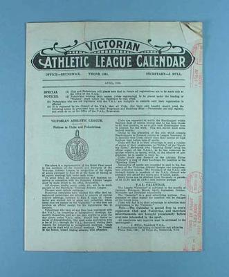 Victorian Athletic League Calendar, April 1930
