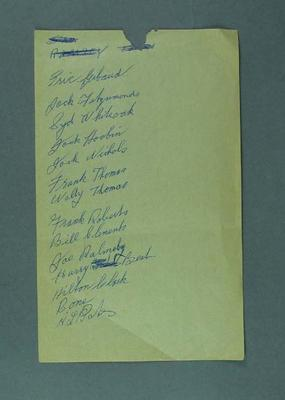 Page of white note paper with a handwritten list names of various cyclists