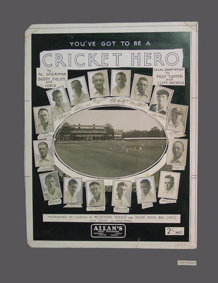 """Cover design for sheet music, """"You've Got to be a Cricket Hero"""""""