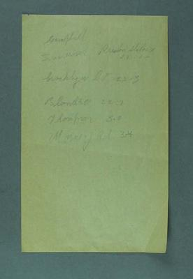 Page of white note paper with names and times of cyclists.   Hand written in pencil by Rupert Bates