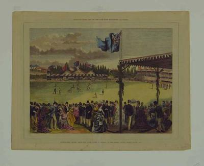 Lithograph, Intercolonial Cricket Match - New South Wales v Victoria, March 1875; Artwork; M4917