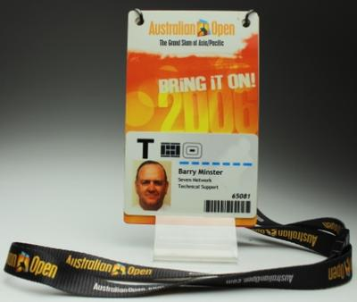 Security pass issued to Barry Minster for the 2006 Australian Open