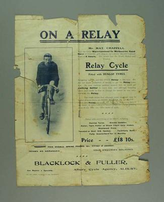 Advertisement for Relay Cycles, featuring Matt Chappell c1902