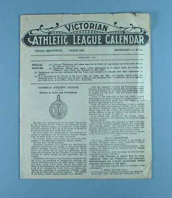 Victorian Athletic League Calendar, Feb 1931