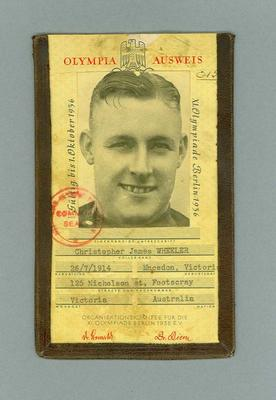Competitor's identification for 1936 Olympic Games, issued to Chris Wheeler