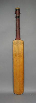 Cricket bat, autographed by Australian & English players c1929