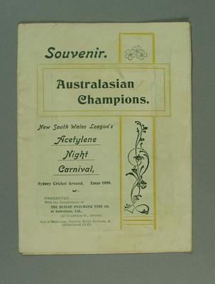 Programme for Acetylene Night Carnival, held at Sydney Cricket Ground 1899