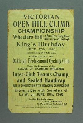 Pamphlet - Victorian Open Hill Climb Championship 17 June 1940