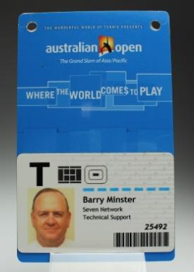 Security pass issued to Barry Minster for the 2008 Australian Open