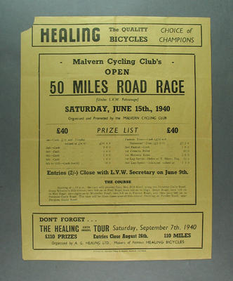 Pamphlet - Malvern Cycling Club Open 50 Miles Road Race, 15 June 1940