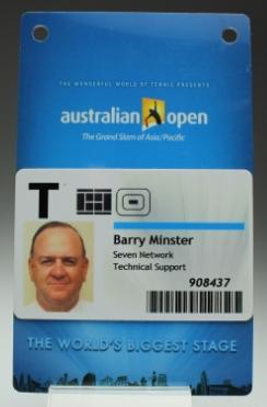 Security pass issued to Barry Minster for the 2009 Australian Open
