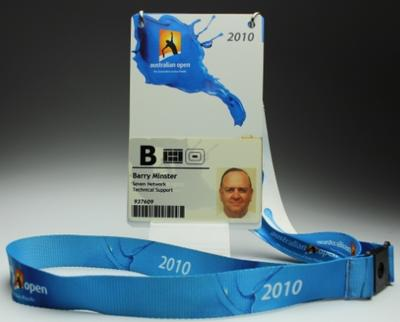 Security pass issued to Barry Minster for the 2010 Australian Open