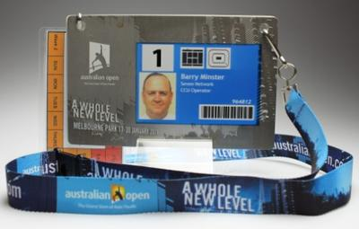 Security pass issued to Barry Minster for the 2011 Australian Open.
