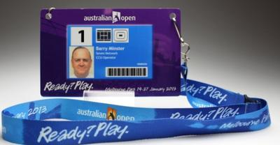 Security pass issued to Barry Minster for the 2013 Australian Open
