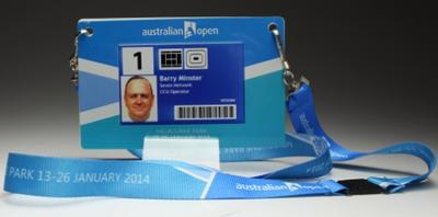 Security pass issued to Barry Minster for the 2014 Australian Open