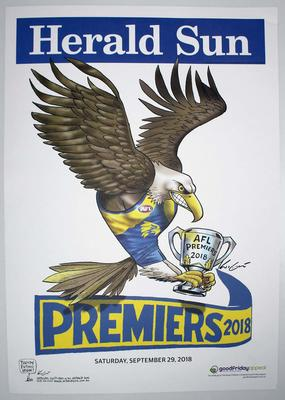 'Herald Sun' AFL West Coast Eagles Premiers poster, caricature by Mark Knight, 2018